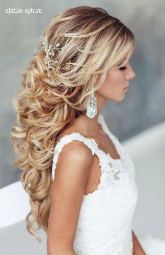 Grogeous half-up-half-down wedding hairstyle