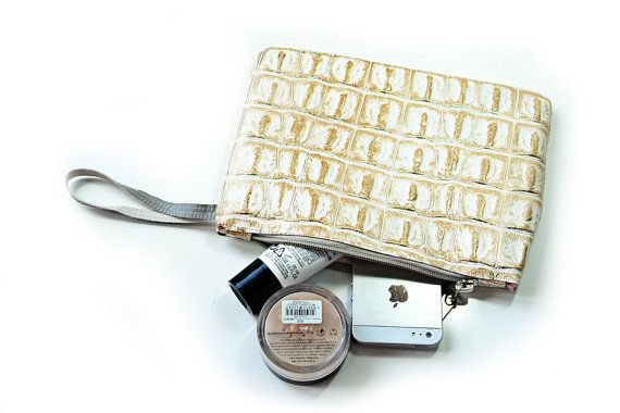 Gold leather clutch bagmake up pouch leather pouch by PansyBag