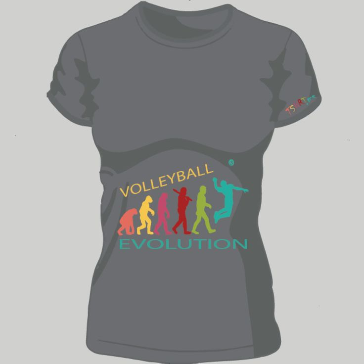 volleyball evolution; t-shirt unisex, woman, child, 9 colors, several sizes; shipping worldwide; 17€ + shipping rates