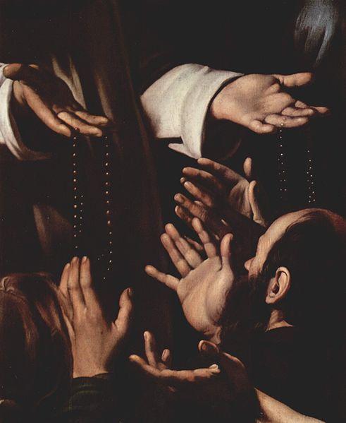 Caravaggio, Madonna del Rosario (detail), 1607
