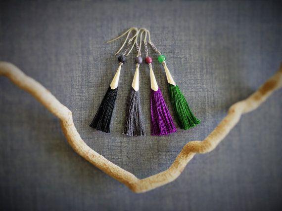 Long dangle tassel earrings with semiprecious stones