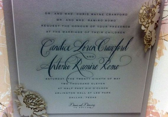 Tony Romo and Candice Crawford's wedding invitation. The couple were married at Arlington Hall in Dallas on May 28, 2011.