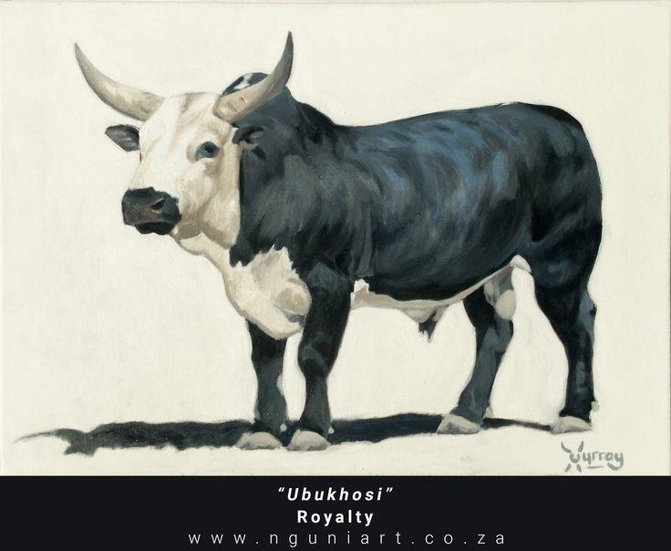 """Ubukhosi""  Royalty (Zulu translation) Nguni Bull Oil Painting ***New July 2017*** Medium: Oil on canvas Size: A2 42cm x 59.4cm"