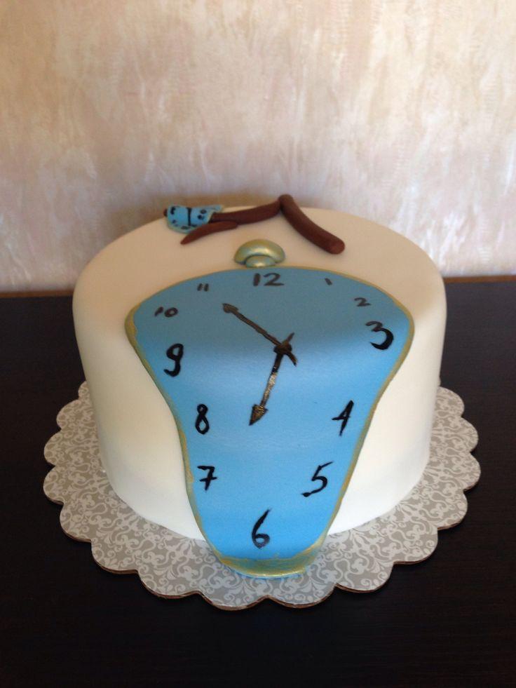 Salvador Dali inspired birthday cake.  Melting clocks.