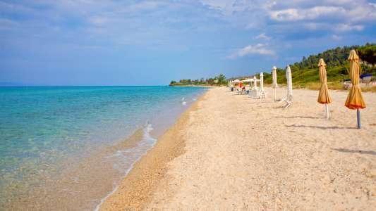 MyTraveler.gr - Παραλία Χανιώτη - Κασσάνδρα. Μια αμμώδη παραλία με καθαρά νερά βρίσκετε μπροστά από το οικισμό Χανιώτη. Ταξιδιωτικός Οδηγός Ελλάδας