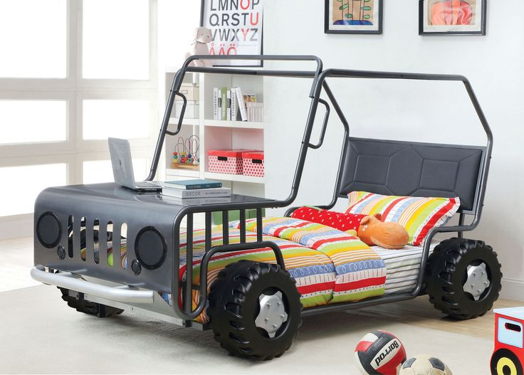 Explore the kids car beds on eFurnitureHouse.com. Shop now the Gun Metal Twin Car Bed Frame with free shipping.