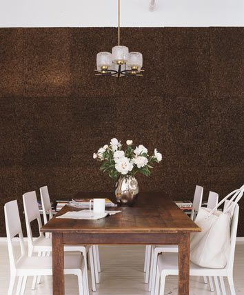 cork walls dining room with acrylic chairs and cork wall - Cork Dining Room Design
