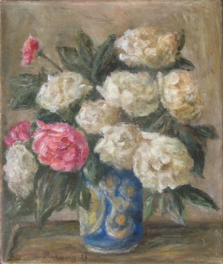 Józef PANKIEWICZ ,Białe peonie, 1923, olej, płótno, 42,5 x 35,5 cm