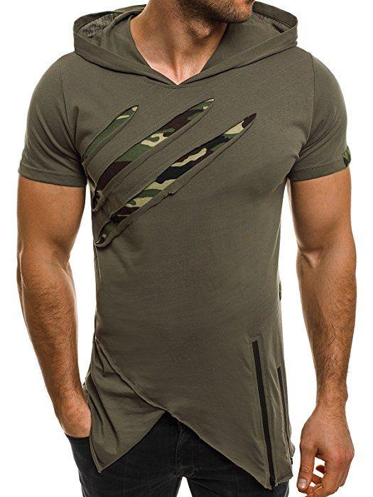 OZONEE Herren T-Shirt mit Motiv Kurzarm Rundhals Figurbetont BREEZY 459 GRÜN M