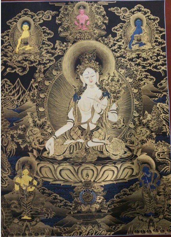White Tara premium quality thangka painting