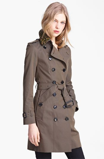 Buberry London Double Breasted Trench with Removable Jewel Collar available at Nordstrom
