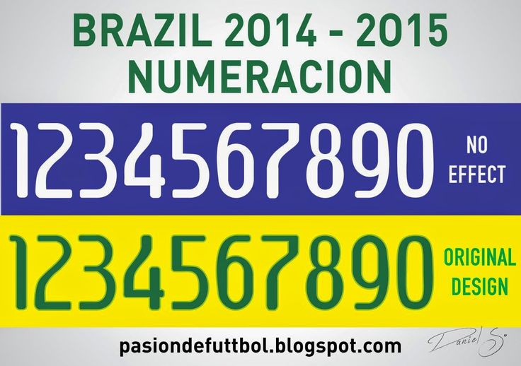 Diseños, Vectores y Templates para Camisetas de Futbol: BRASIL NUMERACION 2014 - 2015 VECTOR