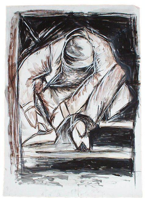 pausa (Pintura),  70x100 cm por Ana Balegas técnica mista sobre papel