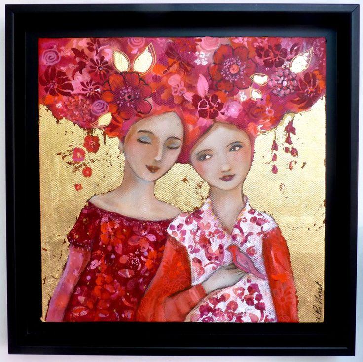 Conversation rose bohème - Boyama,  30x30 cm ©2014 Loetitia Pillault tarafından -                                                            Figüratif Sanat, Tuval, Kadınlar, portraits, femmes, rêve, fleurs, or, feuille d'or, poésie