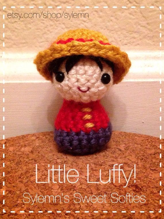 Tiny Chibi Monkey D. Luffy ONE PIECE Amigurumi Crochet by Sylemn, $1.99