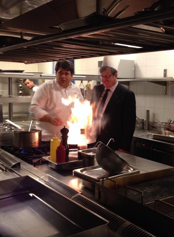 In the kitchen of NARR Restaurant with our Executive Chef Murat Eren.  Narr Restaurant'ın mutfağında Baş Aşçımız Murat Eren ile birlikte.  #sheraton #bursa #sheratonbursa #hotel #narr #restaurant #finedining #kitchen #photoshoot #generalmanager #executive #chef #murateren #fire #flamber #flames #stylecooking #betterwhenshared