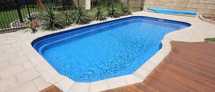 Heron - 8.3m x 4.2m, 1.1m - 1.7m depth. http://www.sapphirepools.com.au/swimming-pools/heron/