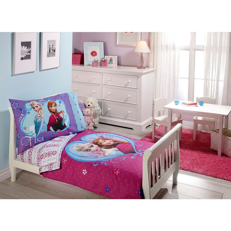 Disney Frozen 4 Piece Toddler Bedding Set Includes: quilted bedspread, fitted bottom sheet, flat top sheet and standard size pillowcase. Sisters are forever with this fun and Frozen toddler bedding featuring Elsa, Anna and Olaf. Brightly styled in colors of aqua, lavender, fuchsia, and white. Fits a standard size toddler/crib mattress 28 inches x 52 inches. Fabric is made of 100% Polyester Microfiber. Fits a standard size toddler/crib mattress 28 inches x 52 inches. Quilt 42 inches x 57…