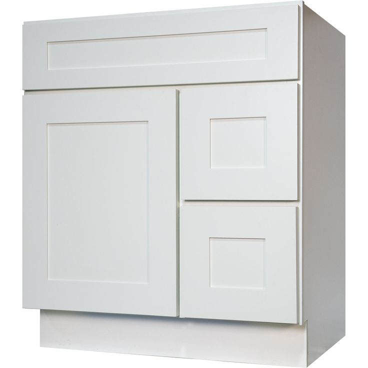 30 Inch bathroom vanity cabinet in solid wood Shaker White with soft close drawers and doors.  (30-in W x 34.5-in H x 21-in D).