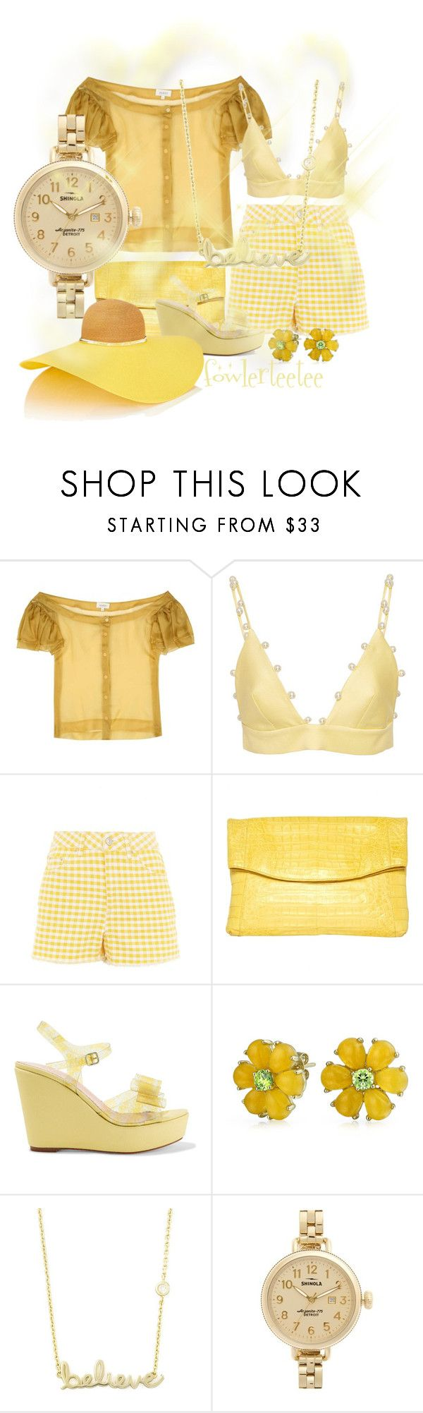 """Yellow Outfit"" by fowlerteetee ❤ liked on Polyvore featuring Isa Arfen, Leal Daccarett, Topshop, Nancy Gonzalez, RED Valentino, Bling Jewelry, Sydney Evan, Shinola and Eugenia Kim"
