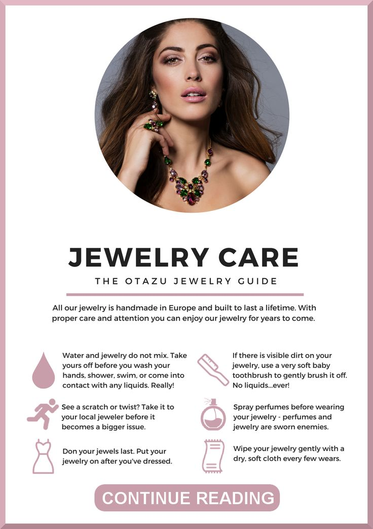 Follow our simple tips and let your Otazu jewelry sparkle all year.  #jewelrycare #careguide #jewellerycare #infographic #jewelryinfographic