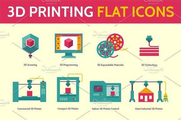 3D Printing Icons in Flat Style by serkorkin on @creativemarket