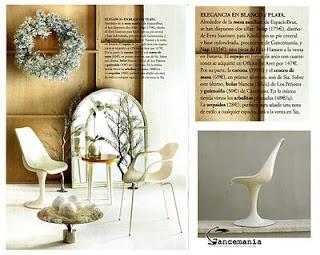 silla tulip de gancemania en la revista interiores del mes de diciembre estilismo de raquel