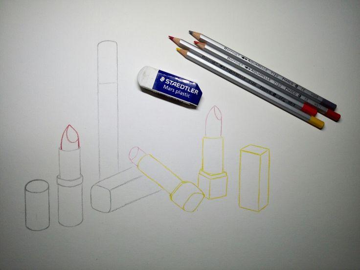 Watercolour drawing: lipsticks. (process)