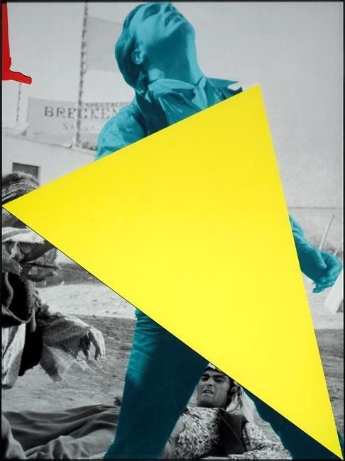John Baldessari, Blockage (Yellow) - With Person (Blue) Being Attacked, from series Blockage (Yellow), 2005