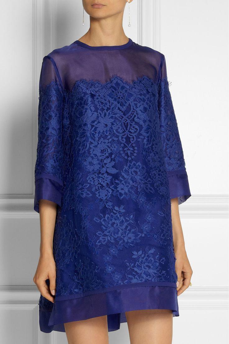 Elie Saab|Lace and organza mini dress|NET-A-PORTER.COM