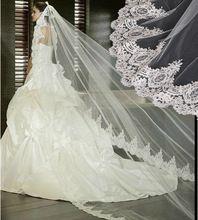 Lusso cattedrale velo da sposa bianco o avorio pizzo bordo oltre 3 m long hot vendita accessori da sposa veli da sposa da sposa(China (Mainland))