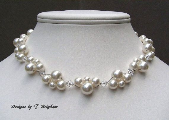 Braut Halskette Swarovski Perlen und Kristallen gewebt in weißen Hochzeit Jewerly anpassbar