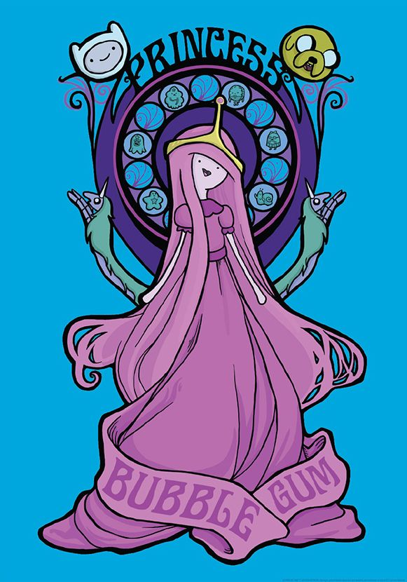Princess Prints on Sale Now Guess what. Our T-shirt friends, Mighty Fine, are now selling Adventure Time prints, including this one, Bubblegum Nouveau, designed by the Pride of Swampscott, Karen Hallion. Yeesh, that's pretty cool (not that that Princess Leia on Karen's site is any less smashing). EDIT: Hey, loviette, it is a shirt, too.