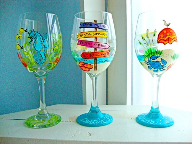 beach tropical wine glass | Denise Loves Art: Hand Painted Wineglasses by Denise