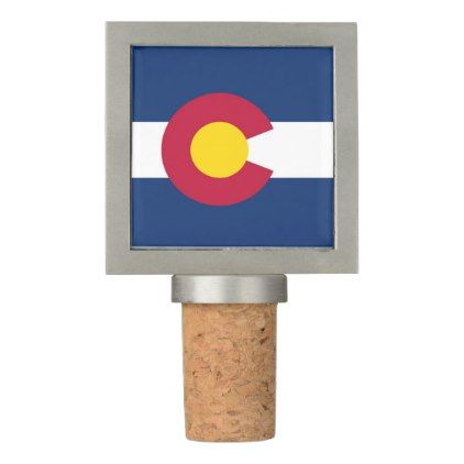 Patriotic Wine Stopper with Flag of Colorado USA - trendy gifts cool gift ideas customize