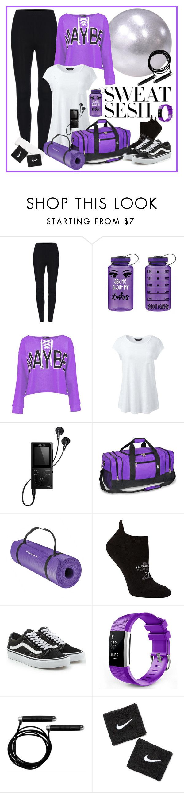 """""""Purple Sweat Sesh"""" by pheonix-dt ❤ liked on Polyvore featuring Boohoo, Lands' End, Sony, Everest, Balega, Vans, adidas, NIKE and plus size clothing"""