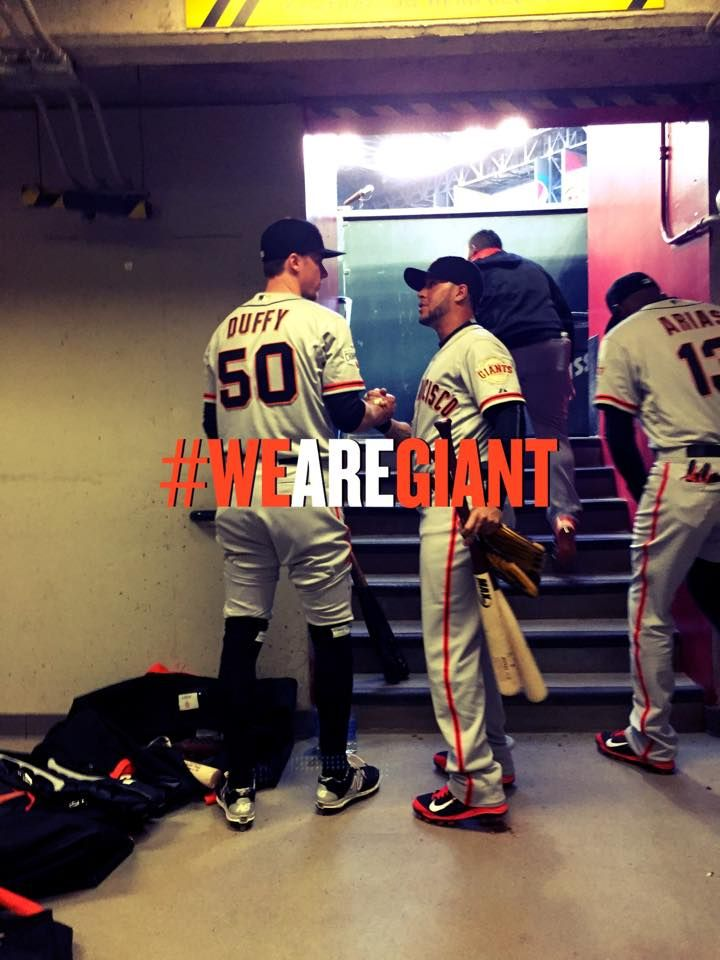 Matt Duffy and Gregor Blanco minutes before the season opener in Arizona.