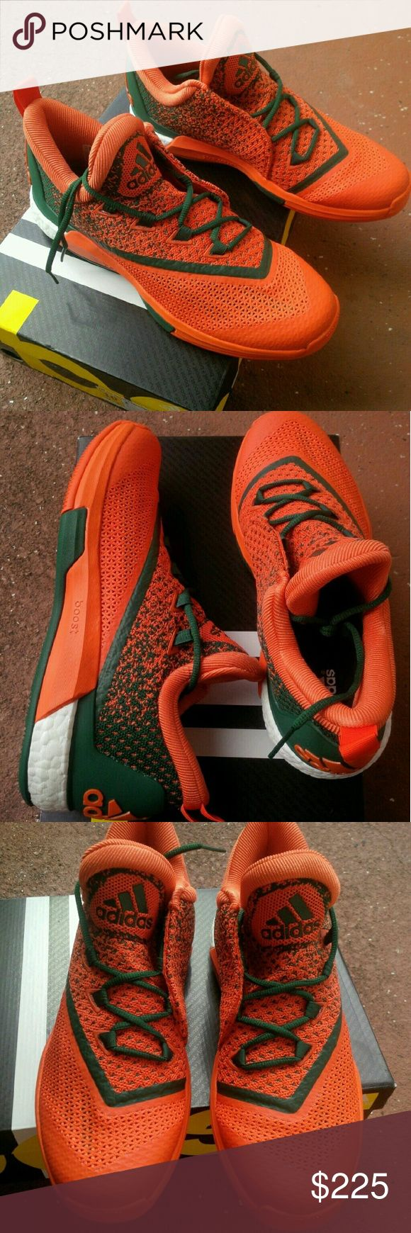 Adidas Boost Crazylight PE Miami Hurrricanes 10.5 New with box adidas boost crazylight player exclusive sample university of Miami hurricanes basketball sneakers. Size 10.5 Adidas Shoes Sneakers