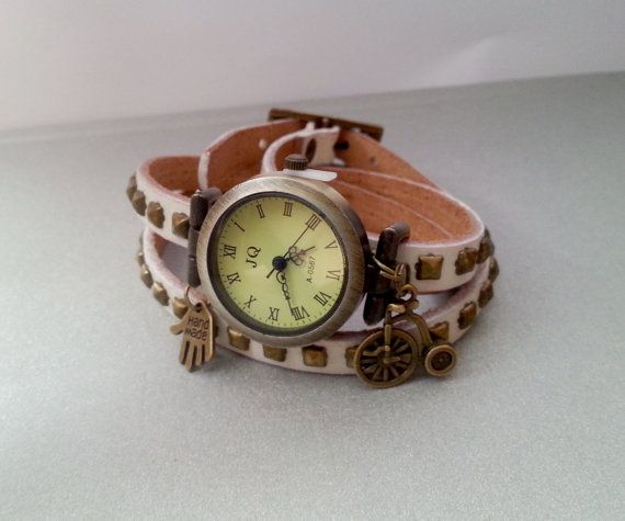 """Leather strap long wrap watch with brads, """"hand made"""" and bicycle charms. Length 60cm(22,5in), watch face diameter 2,7cm(1,1in). Free gift packages. Great gift idea."""