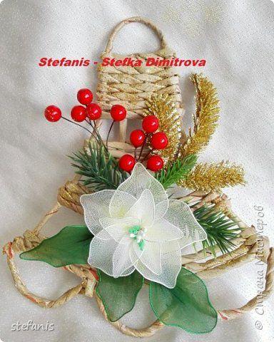Поделка изделие Новый год Плетение у меня такие венки на двер получилис Бумага газетная Трубочки бумажные фото 1