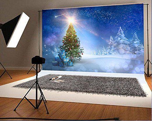 7x5ft(210x150cm) Winter Hochzeit Fotografie Blue Sky Sunny Day Weihnachten Hintergrund Fotografie Frozen Snow Weihnachtsbaum Zeder für Kinder Hintergrund