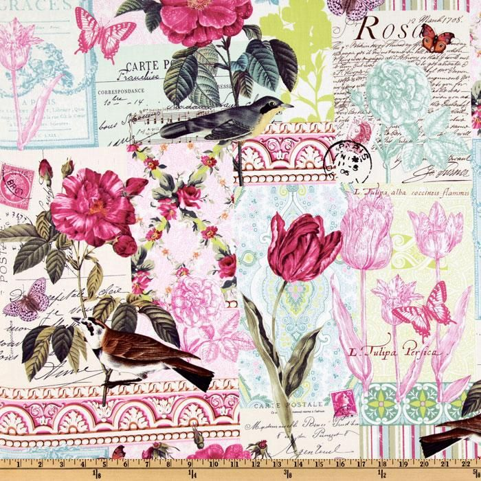 02-21-12.  Fabric.com  $8.98 per yard.  Michael Miller French Journal Collection Bell Rose Pink  Item Number: DZ-402.  Contents:  100% cotton  • Washing:  Machine Wash Cold / Tumble Dry Low  • Horizontal Repeat:  0.00''    • Vertical Repeat:  24.00''  • Width:  44''   . Colors include pink, aqua, lime, black, orange, orchid and ivory