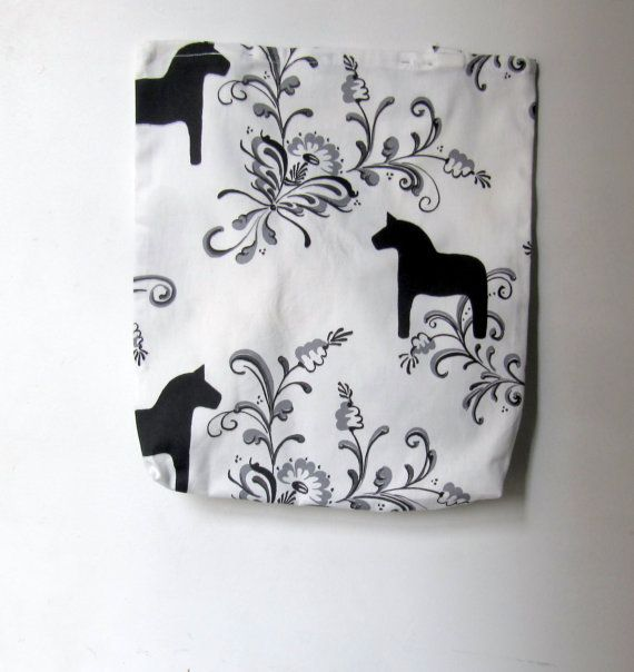 Eco friendly Reusable Black and white Tote bag Ready by JolantaPF, $15.00