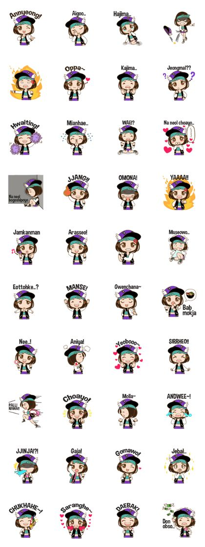 This sticker for people who want to learn, understand and talk in korean languange and for who like chibi character
