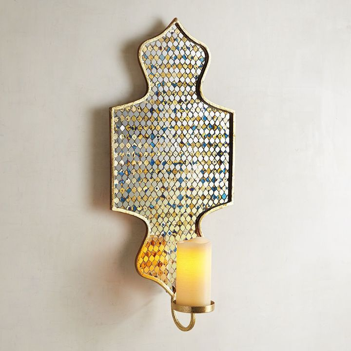 Pier 1 Imports Antique-Style Mosaic Candle Holder Wall Sconce
