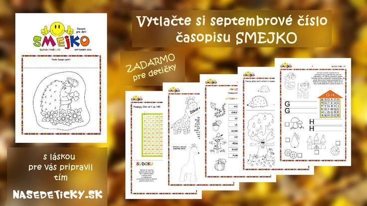 Vytlačte si ZADARMO časopis SMEJKO pre deti - septembrové číslo sa venuje už jesenným témam.