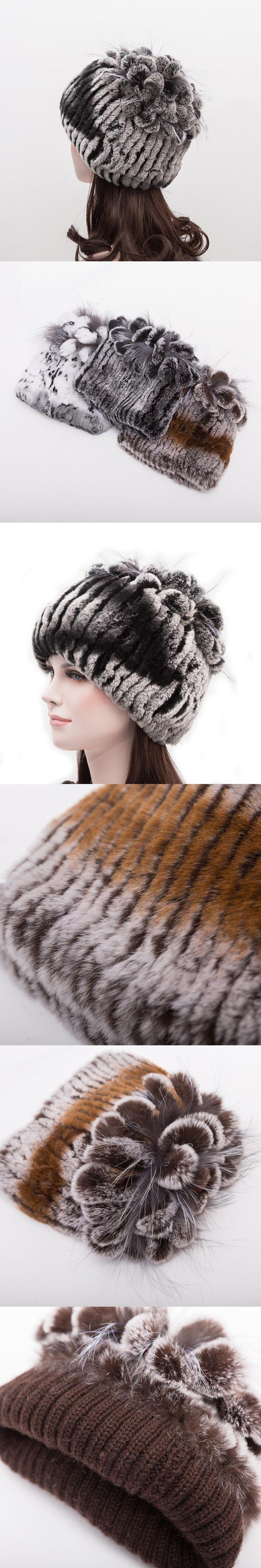 Knitted Hat 2017 Winter Rabbit Fur Beanies Headgear Women Silver Fox Fur Luxury Ball Flower Cap Women's Customized Hat Beanie