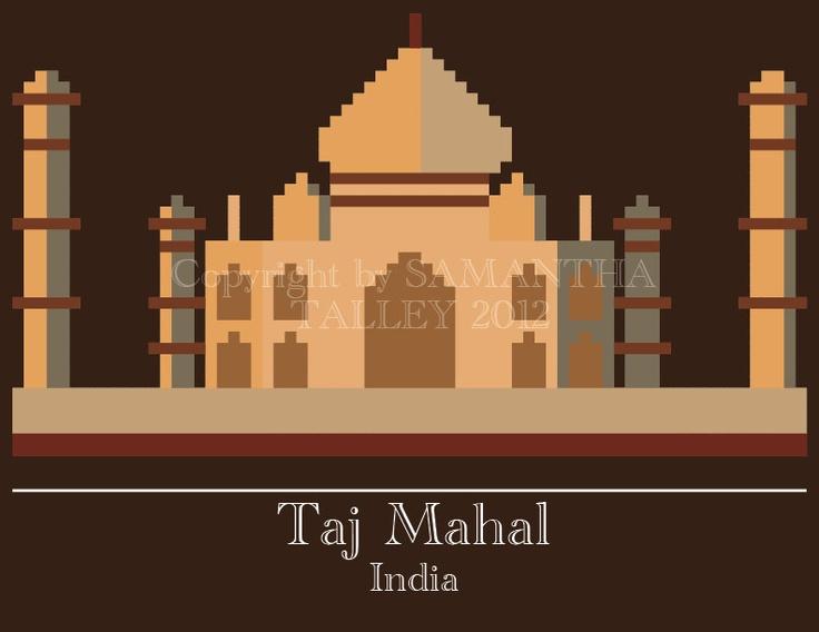 Taj Mahal Pixel Art 15 00 Via Etsy Pixel Decor