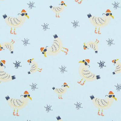 Popeline Chilly Seagull 1 - Coton - bleu clair