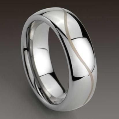 Phoenix Domed Tungsten Carbide Ring With Gold Line 8mm